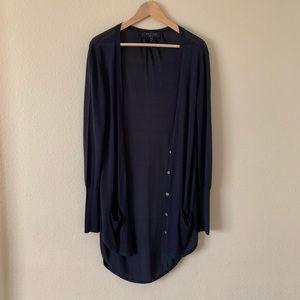 Rag & Bone Long Cardigan Navy Blue Silk Blend